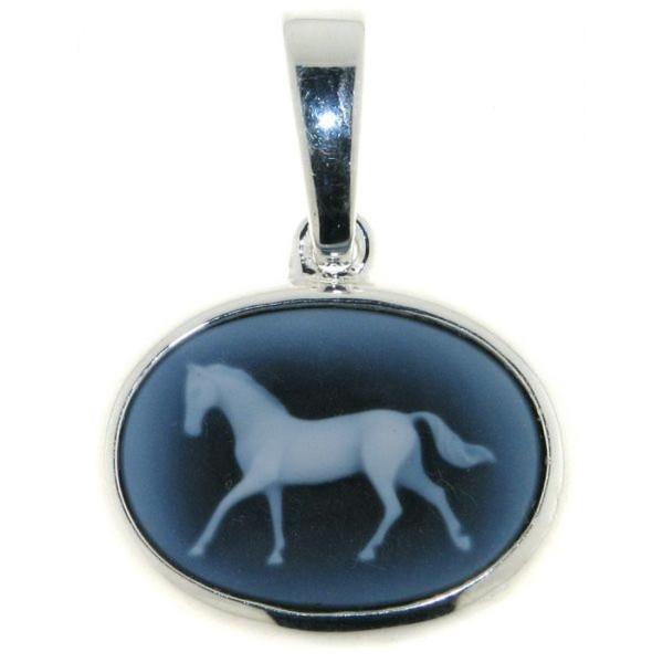Anhänger Gemme Achat laufendes Pferd 18 x 13 mm Kamee