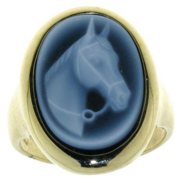 Ring Gemme Achat Pferdekopf mit Trense 18 x 13 mm Kamee