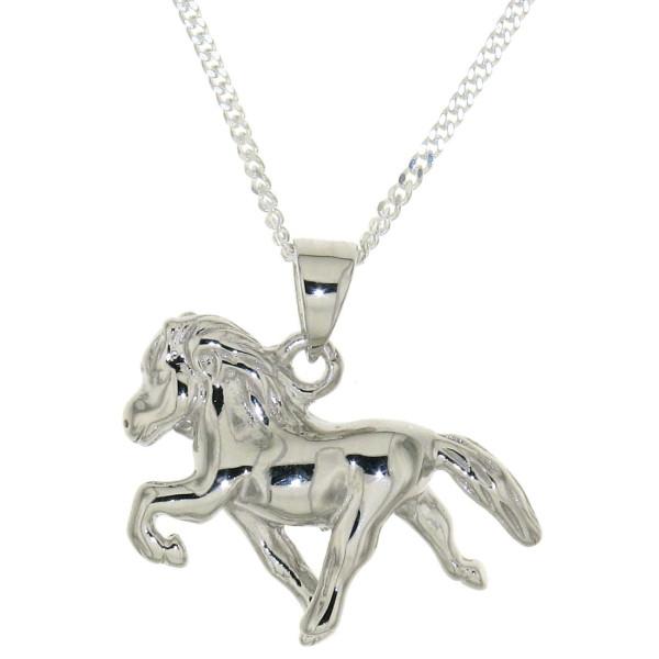 Anhänger Isländer Island-Pferd beim Tölt massiv echt Silber mit Kette Sonderpreis