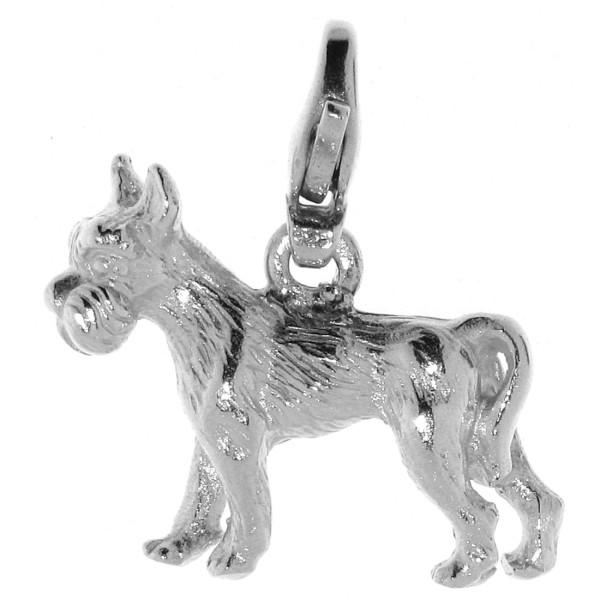 Charm Schnauzer Hund mit unkupierter Rute Hunderasse massiv echt Silber
