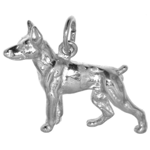 Anhänger Dobermann Hunderasse massiv echt Silber