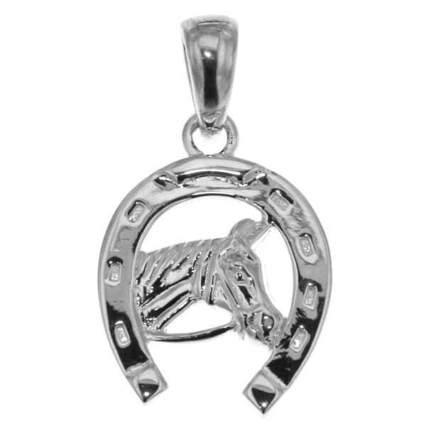 Anhänger Pferdekopf im Hufeisen massiv echt Silber