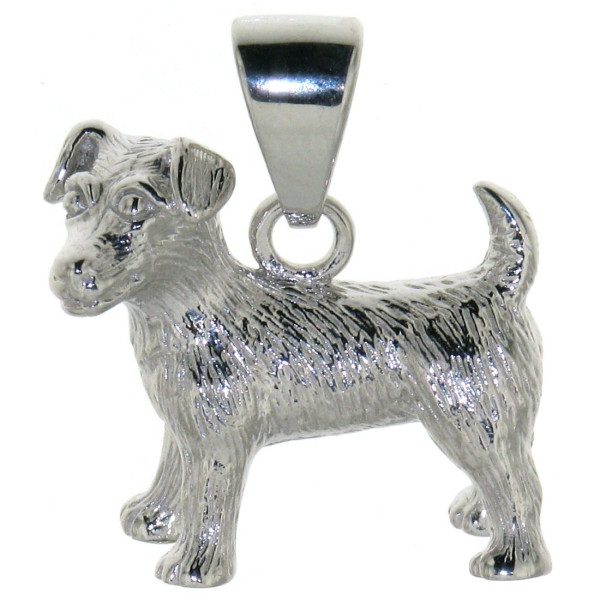 Anhänger Jack Russel Terrier Hunderasse massiv echt Silber schwer größer