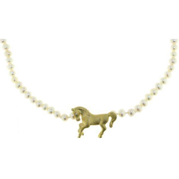 Perlcollier echte weiße Perlen mit Pferd echt Silber goldplattiert und Zirkoniaauge