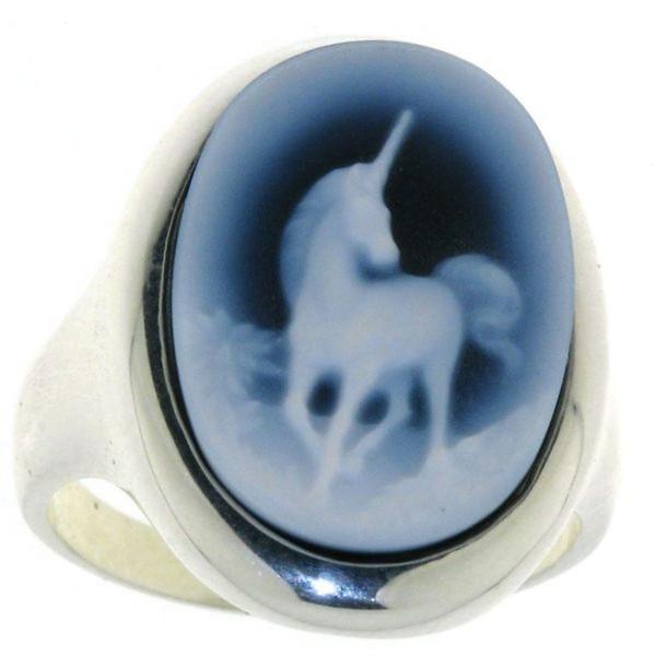 Ring Gemme Achat 18 x 13 mm mit Einhorn Kamee
