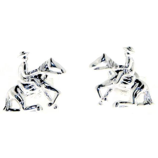 Ohrstecker Reiter auf Pferd beim Sliding Stop massiv echt Silber