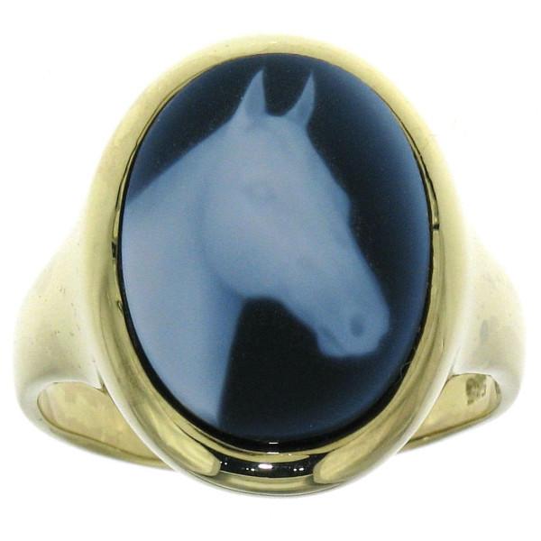 Ring Gemme Achat mit Pferdekopf 16 x 12 mm Kamee