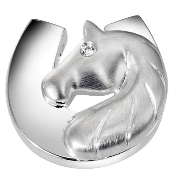 Anhänger Pferdekopf mit Hufeisen modern echt Silber mattiert-poliert mit Zirkonia Auge
