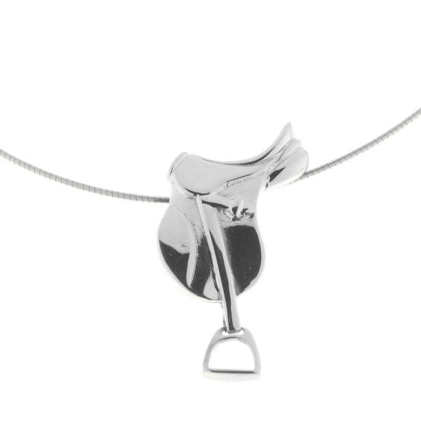 Anhänger Sattel massiv echt Silber mattiert-poliert mit beweglichen Steigbügeln