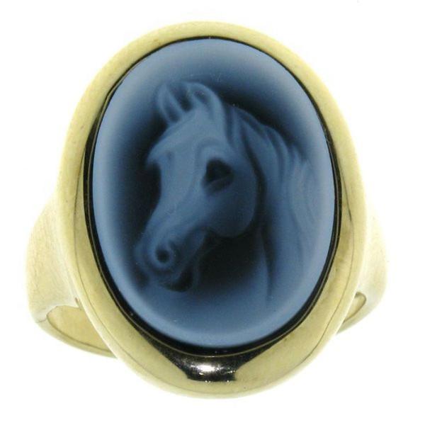 Ring Gemme Achat mit Pferdekopf Araber Vollbluttyp 18 x 13 mm Kamee