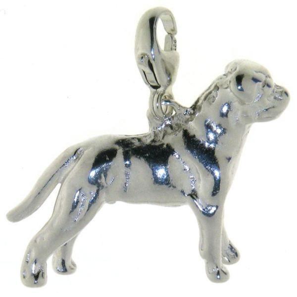 Charm Rottweiler unkupierte Rute Hunderasse massiv echt Silber