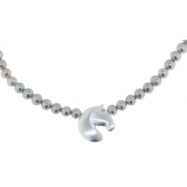 Collier aus grauen echten Perlen mit modernem Pferdekopf echt Silber mit Zirkoniaauge