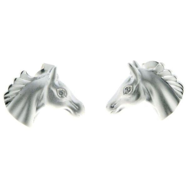 Ohrstecker Pferdekopf modern matt-poliert echt Silber