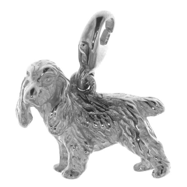 Charm Cocker Spaniel Hunderasse massiv echt Silber