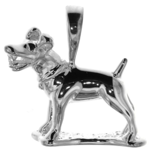 Anhänger Jack-Russel Terrier massiv echt Silber mit Zirkonia Hunderasse