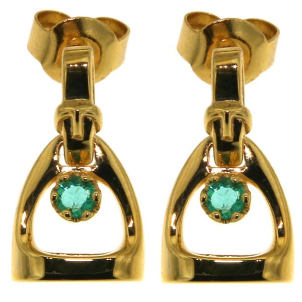 Ohrstecker Steigbügel klein mit Bügelriemen und echtem Smaragd