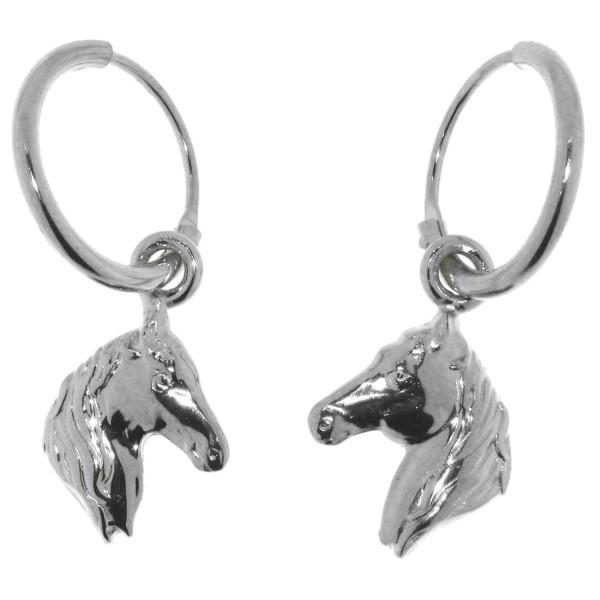 Ohrcreolen Pferdeköpfe massiv echt Silber