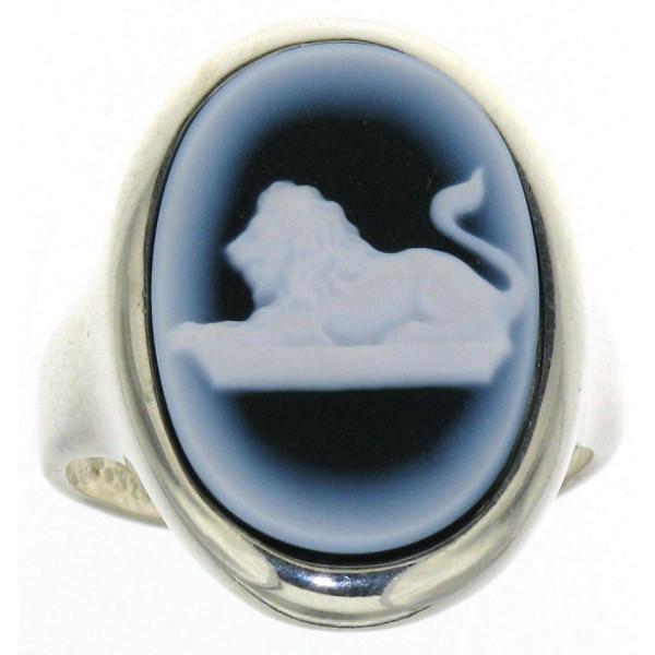 Ring Gemme Achat 18 x 13 mm Sternzeichen Löwe Kamee