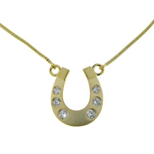 Collier Hufeisen mittelgroß massiv echt Silber goldplattiert mattiert-poliert mit 6 Zirkoniasteinen