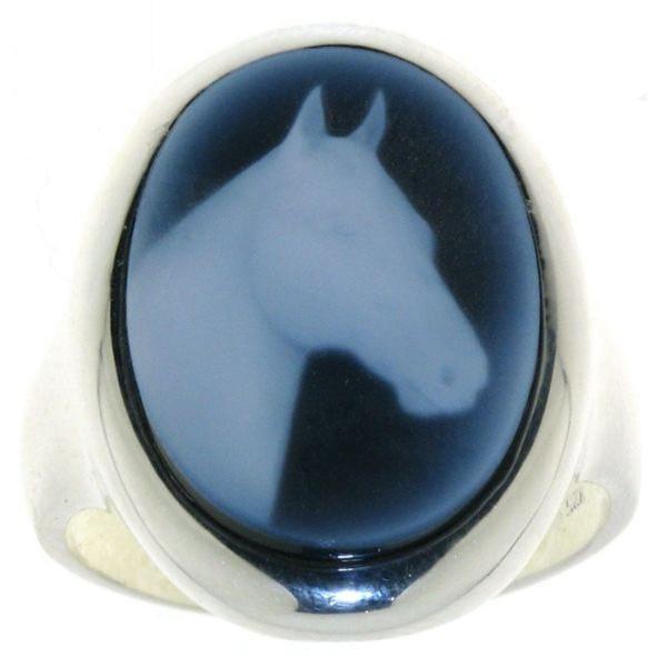 Ring Gemme Achat 18 x 13 mm mit Pferdekopf Kamee