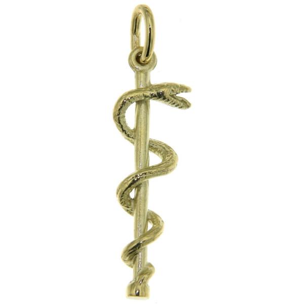 Anhänger Äskulap Äsculapstab Medizinsymbol zierlich massiv echt Gold