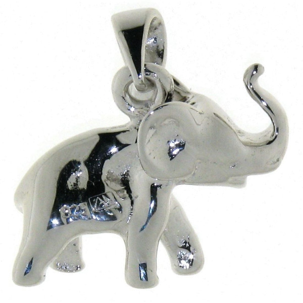 Anhänger Elefant mit erhobenem Rüssel Glücksbringer massiv echt Silber