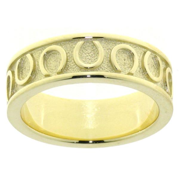 Ring mit umlaufenden Hufeisen schwer massiv Gelbgold