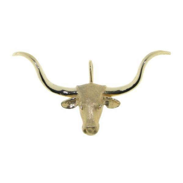 Anhänger Longhorn Stierschädel groß mattiert-poliert mit Brillanttaugen
