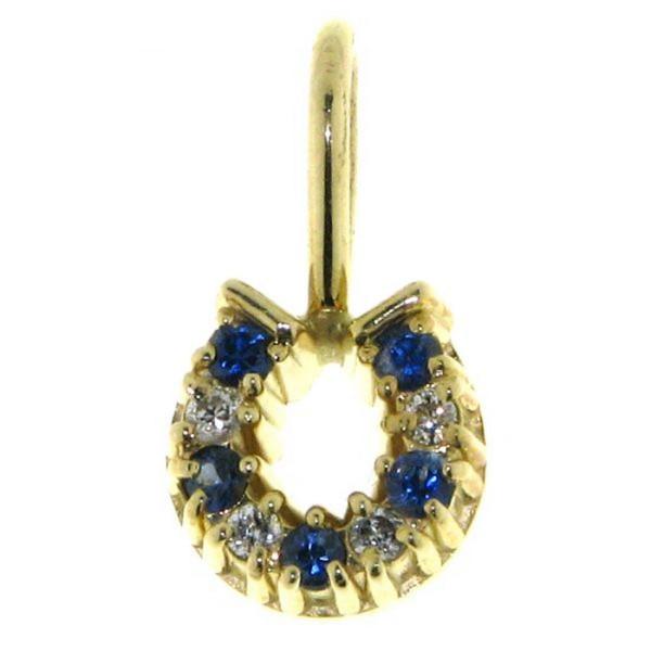 Hufeisen klein mit Diamanten und Saphiren