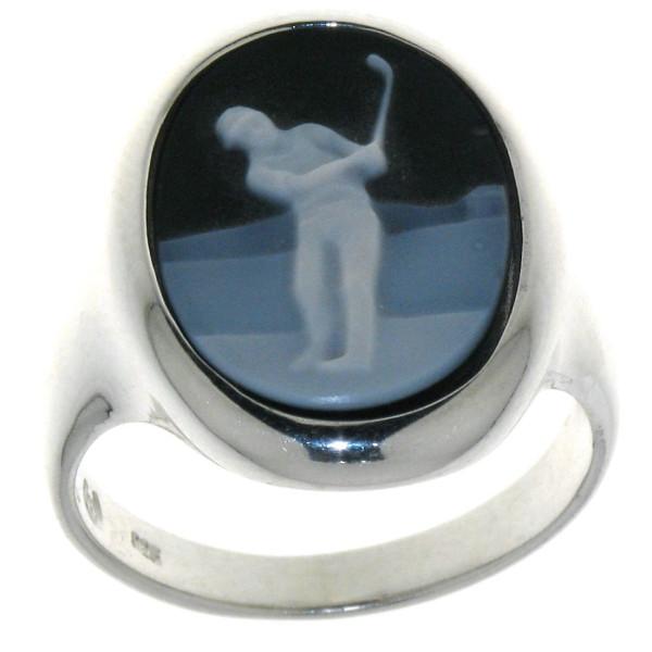 Ring Gemme Achat mit Golfmotiv Golfsport 16 x 12 mm Kamee