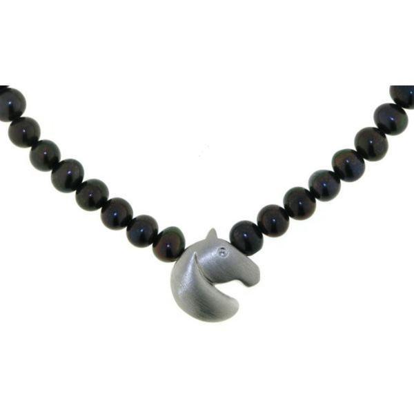 Perlcollier schwarze echte Perlen mit kleinem modernem mattiertem Pferdekopf echt Silber mit Zirkoni