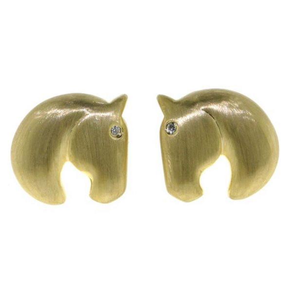 Ohrstecker moderner Pferdekopf echt Silber goldplattiert mit Zirkoniaauge