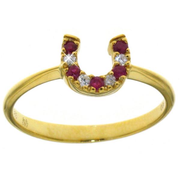 Ring mit kleinem Diamant/Rubin Hufeisen