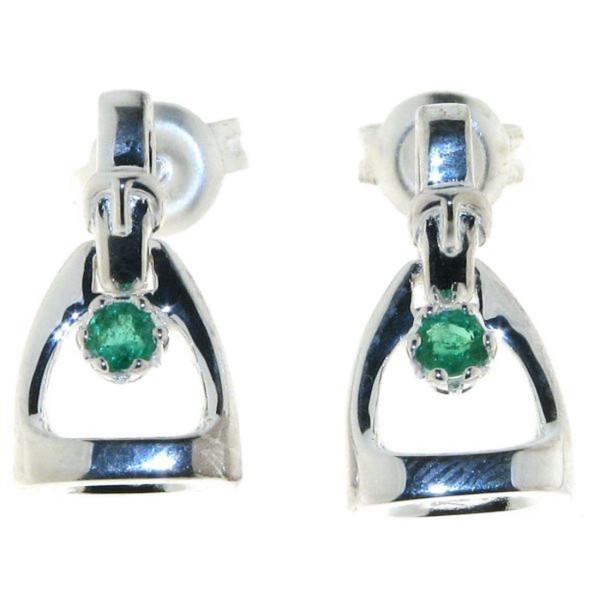 Ohrstecker Steigbügel klein massiv echt Silber mit echtem Smaragd
