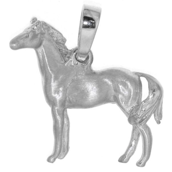 Anhänger Pferd massiv echt Silber mattiert - poliert