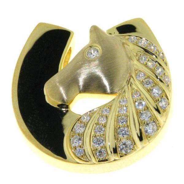 Anhänger Pferdekopf mit Hufeisen modern echt Silber mattiert-poliert goldplattiert mit 31 Zirkoniast
