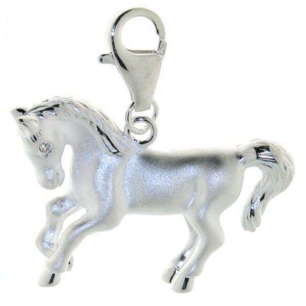 Anhänger Pferd größer mit Zirkonia Auge und Karabiner echt Silber mattiert und poliert