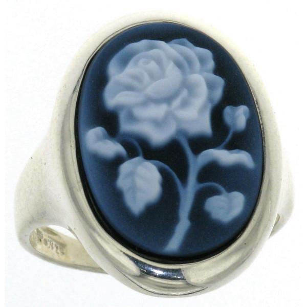 Ring Gemme Achat 18 x 13 mm mit Rose Blume Kamee