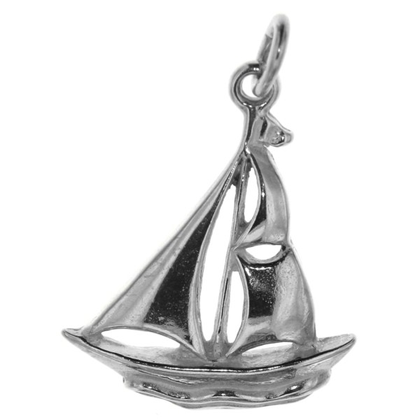 Anhänger Segelschiff Segelyacht Segelboot Segelsport massiv echt Silber