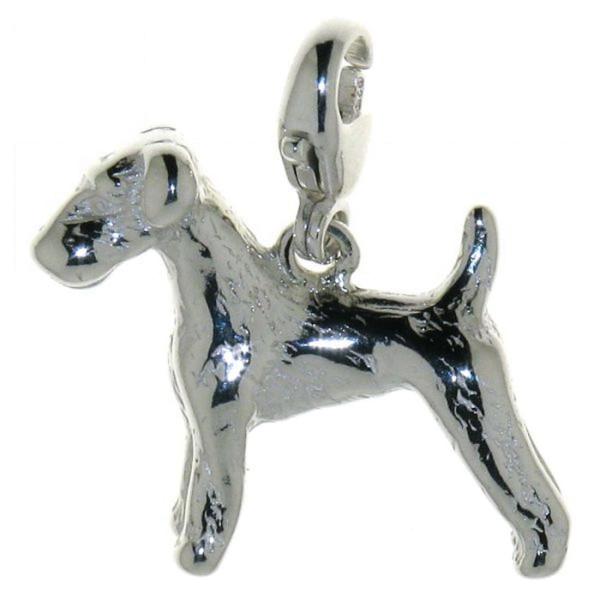 Charm Airedale Terrier Hunderasse massiv echt Silber