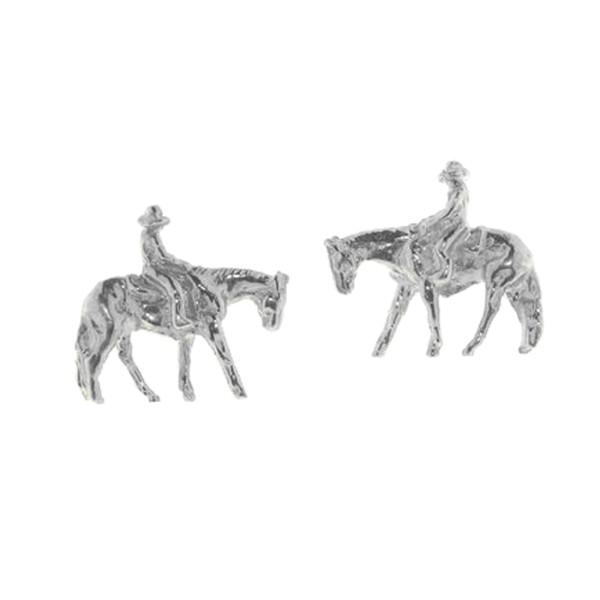 Ohrstecker Reiter auf Pferd Western Pleasure massiv echt Silber