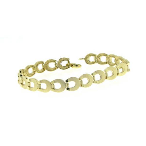 Armband aus 19 Hufeisen - Hufeisenarmband echt Silber goldplattiert