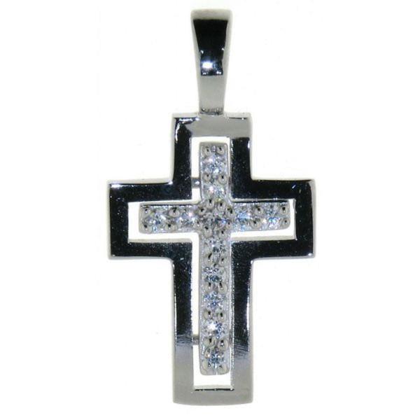 Anhänger Kreuz massiv echt Silber mit Zirkonia