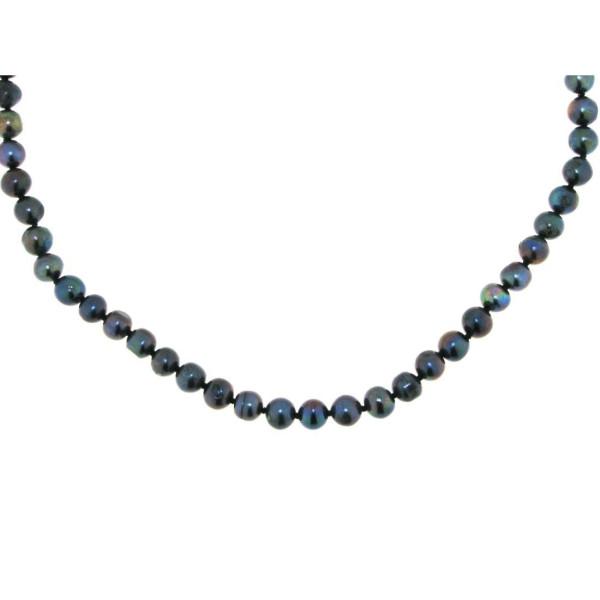 Perlenkette aus echten Zuchtperlen schwarz 5-6 mm - Sonderpreis