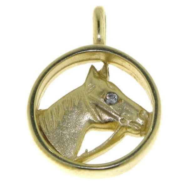 Anhänger Pferdekopf mit Zaumzeug und Diamantauge im Goldrahmen - mattiert - poliert