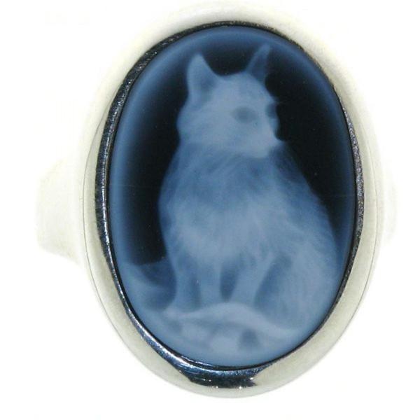 Ring Gemme Achat 18 x 13 mm mit Katze Kamee