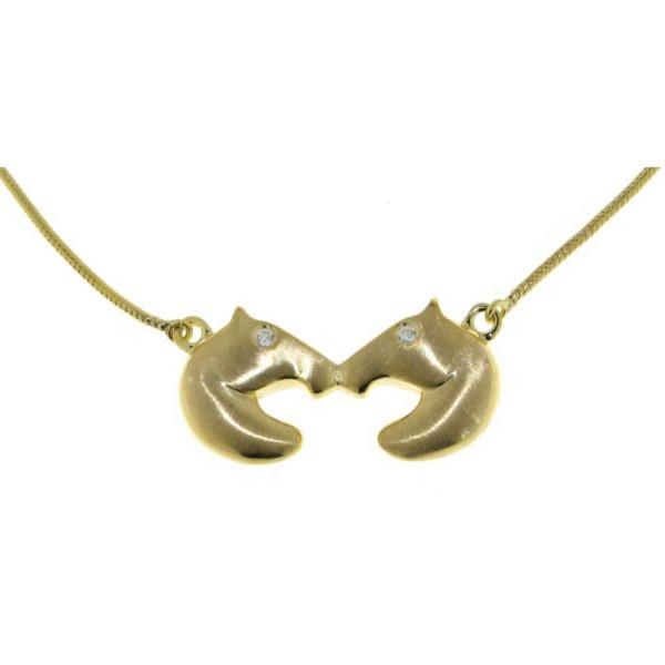 Pferdekopf Collier kissing horses echt Silber goldplattiert mit Zirkoniaaugen