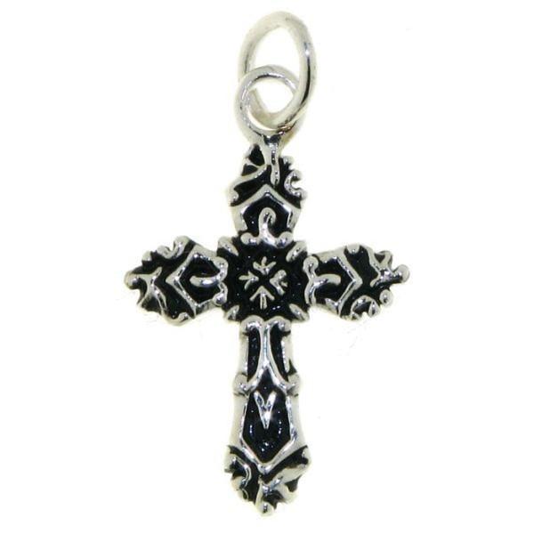 Anhänger Kreuz filigran gemustert echt Silber mit schwarzem Lack