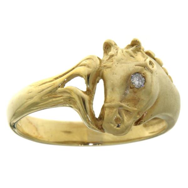 Ring Pferdekopf mit gezopfter Mähne mattiert - poliert mit Diamantauge