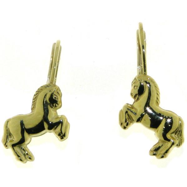 Ohrhänger Ohrringe kleine Pferdchen Pony 333/- Gelbgold - Sonderpreis